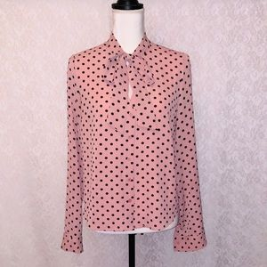 Forever21 Polka Dot Neck Tie Blouse